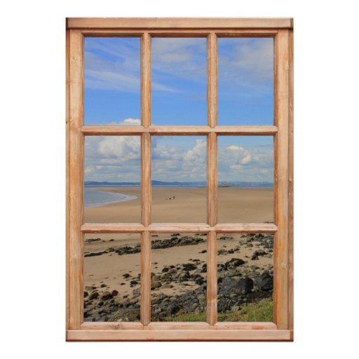 Sandy Beach and Ocean View from a Window Print