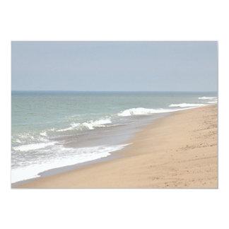 Sandy beach and ocean waves card
