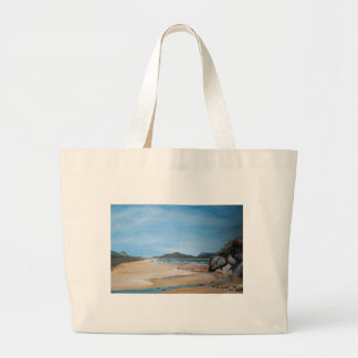 Sandy Beach and Rock Pool Tote Bags
