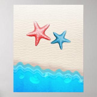 Sandy Beach And Starfish Poster