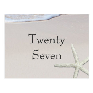 Sandy Beach and Starfish Table Number Cards