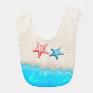 Sandy Beach And Starfish Baby Bibs