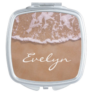 Sandy Beach and Waves Compact Mirrors