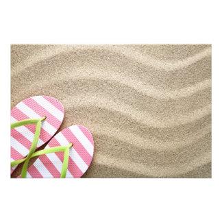 Sandy Beach Background With Flip Flops Art Photo
