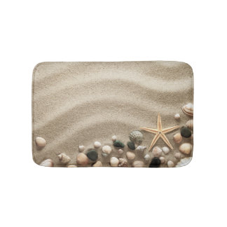 Sandy Beach Background With Shells And Starfish Bathroom Mat