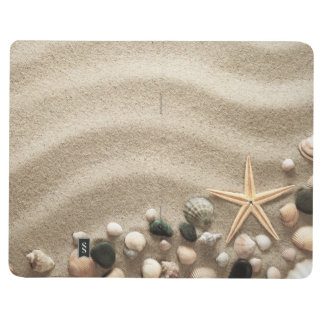Sandy Beach Background With Shells And Starfish Journal