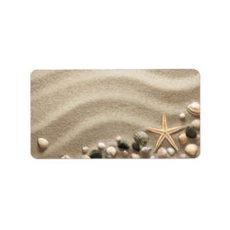 Sandy Beach Background With Shells And Starfish Label