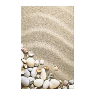 Sandy Beach Background With Shells And Stones Canvas Print