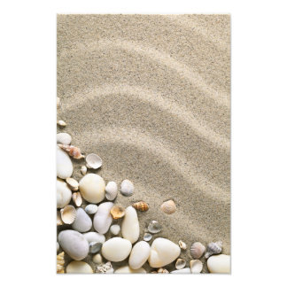 Sandy Beach Background With Shells And Stones Photo Print