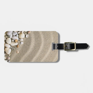 Sandy Beach Background With Shells And Stones Tag For Luggage