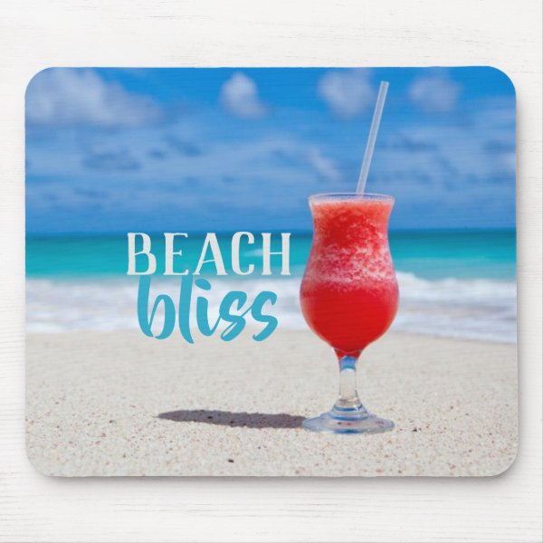Sandy Beach Bliss Tropical Cocktail Mouse Pad