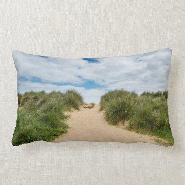Beach Themed Sandy Beach Blue Skies Vacation Cushion Pillow