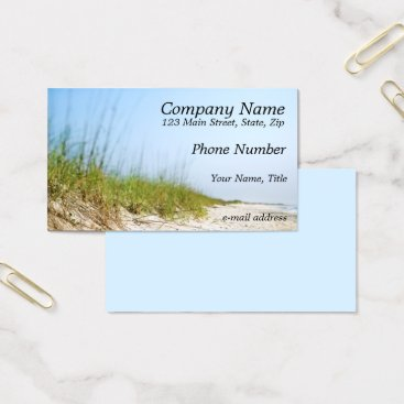 Beach Themed Sandy Beach Blue Sky Business Card