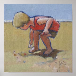 Sandy beach boy shell seeking poster