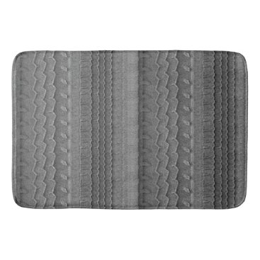 Beach Themed Sandy Beach Car Tire Trace Grey Bath Mat