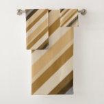 [ Thumbnail: Sandy Beach Colors Inspired Striped Pattern Bath Towel Set ]