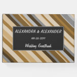 [ Thumbnail: Sandy Beach Colors Inspired Striped Pattern Guest Book ]
