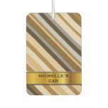 [ Thumbnail: Sandy Beach Colors Inspired Striped Pattern & Name Air Freshener ]