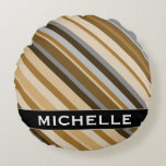 [ Thumbnail: Sandy Beach Colors Inspired Striped Pattern + Name Round Pillow ]