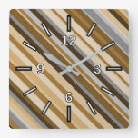 [ Thumbnail: Sandy Beach Colors Inspired Striped Pattern Square Wall Clock ]