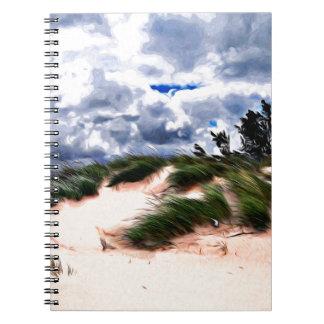 Sandy Beach Dune Grass Spiral Notebooks