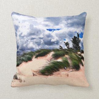 Sandy Beach Dune Grass Throw Pillow