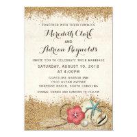 Sandy Beach Hibiscus & Shells Wedding Invitation