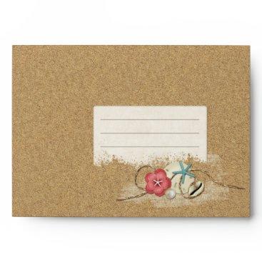 Beach Themed Sandy Beach Hibiscus & Shells Wedding Invitation Envelope