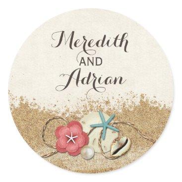 Beach Themed Sandy Beach Hibiscus & Shells Wedding Personalized Classic Round Sticker