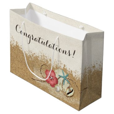 Beach Themed Sandy Beach Hibiscus & Shells Wedding Personalized Large Gift Bag