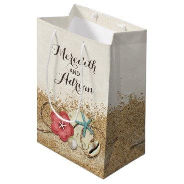 Beach Themed Sandy Beach Hibiscus & Shells Wedding Personalized Medium Gift Bag