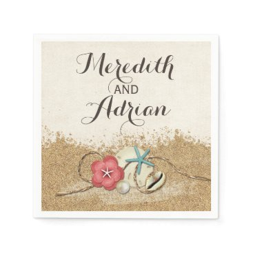 Beach Themed Sandy Beach Hibiscus & Shells Wedding Personalized Napkin