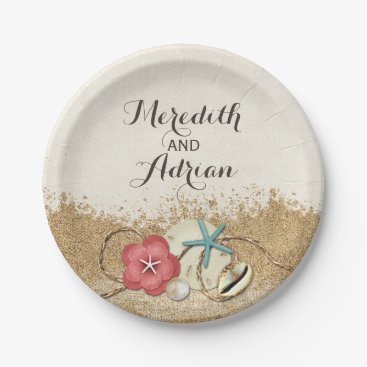 Beach Themed Sandy Beach Hibiscus & Shells Wedding Personalized Paper Plate