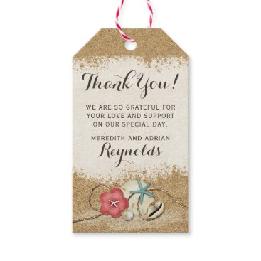 Beach Themed Sandy Beach Hibiscus & Shells Wedding Thank You Gift Tags
