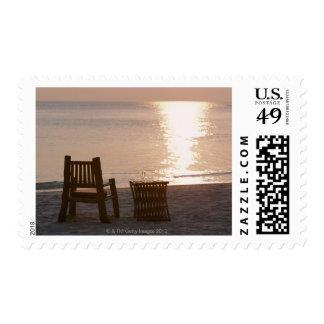 Sandy Beach of Sunset 2 Postage Stamp