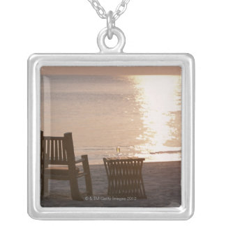 Sandy Beach of Sunset 2 Silver Plated Necklace