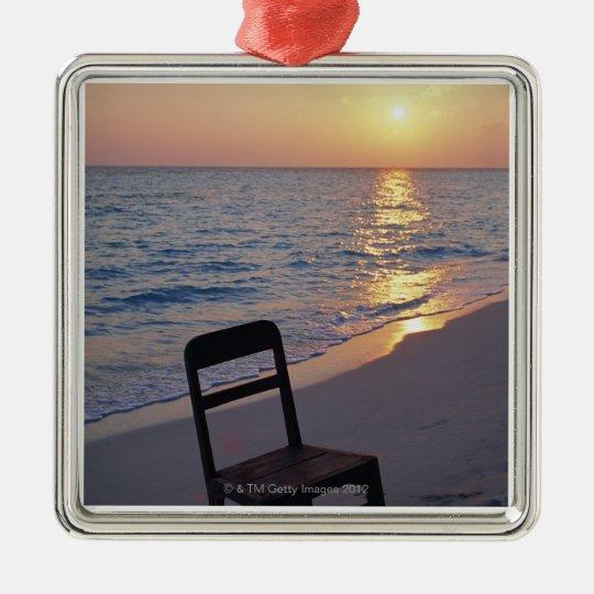 Sandy Beach of Sunset Metal Ornament