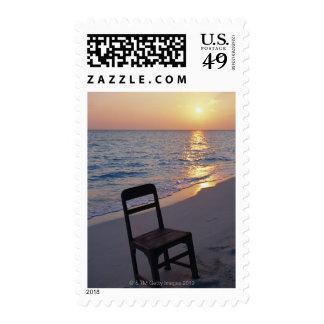 Sandy Beach of Sunset Postage Stamp