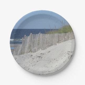 Sandy beach paper plate