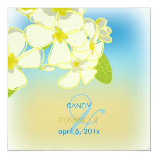 Sandy beach/plumerias destination wedding 5.25x5.25 square paper invitation card