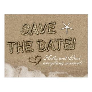 Sandy Beach SAVE THE DATE Wedding Date Postcard