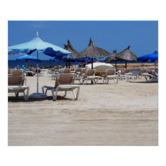 Sandy Beach Scene with Umbrellas and Lounge Chairs Poster
