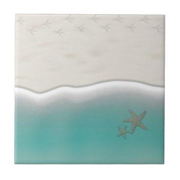Beach Themed Sandy beach sea water with starfish tile
