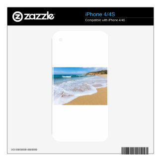 Sandy beach sea waves and mountain at coast iPhone 4S decals