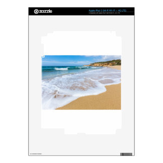 Sandy beach sea waves and mountain at coast skin for iPad 3