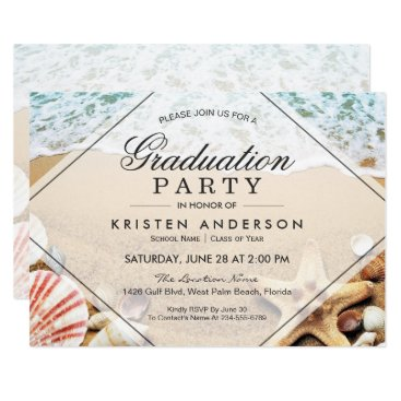 CardHunter Sandy Beach Starfish Seashell Graduation Party Card