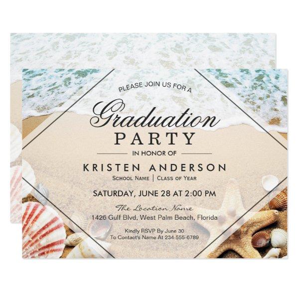 Sandy Beach Starfish Seashell Graduation Party Card