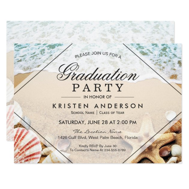 Sandy Beach Starfish Seashell Graduation Party Card