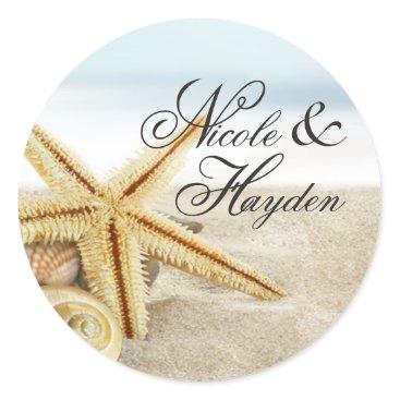 Beach Themed Sandy Beach Starfish Seashells Favor Classic Round Sticker