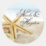 Sandy Beach Starfish Seashells Favor Classic Round Sticker